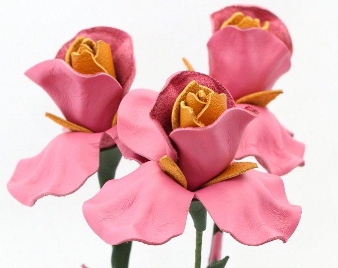 3 leather flower iris pink spring Wedding Third Anniversary Gift Long Stem Flower Valentine's Day 3rd Leather Anniversary Mother's Day Prom