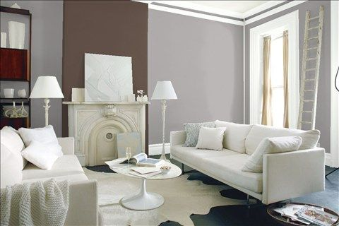 Look at the paint colour combination I created with Benjamin Moore. Via @benjamin_moore. Wall: Stormy Monday 2112-50; Accent Wall: Van Buren Brown HC-70; Trim: White Christmas 872.