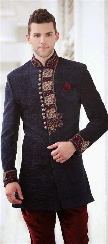 13376, IndoWestern Dress, Linen, Thread, Lace, Cut Dana, Patch, Zari, Blue Color Family
