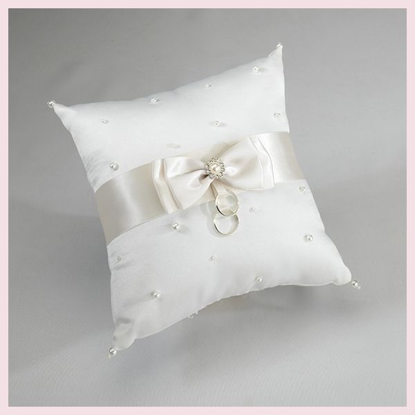 Cuscino portafedi in raso avorio con perle