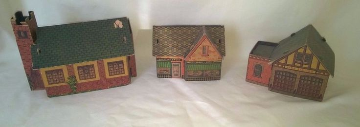 VINTAGE BUILT-RITE TOYS CARDBOARD FIRE STATION, CHURCH & DRUG STORE $34.99