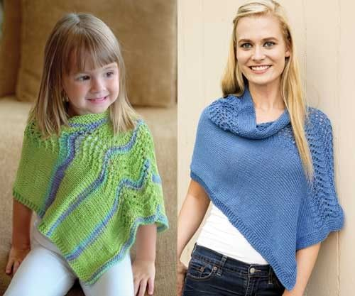 Knitting patterns for Mother and Daughter Ponchos - Matching ponchos are knit as a simple rectangle and divided at one end to create the neck opening, this piece has one short seam and features a wide band of wave-lace stitch on the shoulders. affiliate link