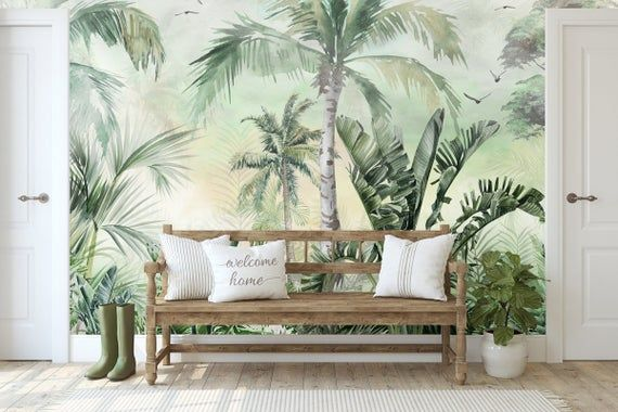 Tropical Wallpaper Self Adhesive Peel And Stick Palm Tree Wall Etsy Palm Trees Wallpaper Tropical Wallpaper Tree Landscape Wallpaper