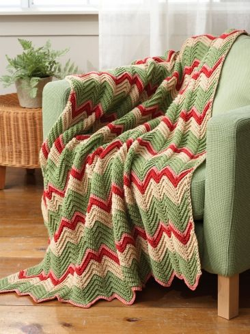 Knitted Zig Zag Afghan Pattern : 170 best images about CROCHET.blankets/pillows on Pinterest Free pattern, F...