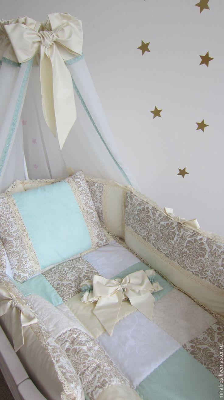 Купить Комплект в детскую кроватку - комбинированный, лоскутное одеяло, одеяло детское, одеяло пэчворк