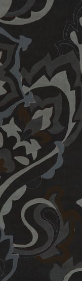 2.5′ x 8′ Peacock Blooms Pewter  Sky Gray and Umber Area Throw Rug Runner