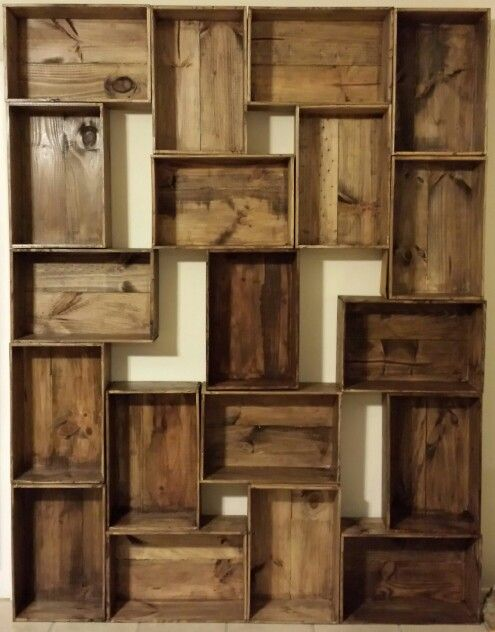 DIY shelving from old wine boxes Stain them and stack them to look interesting. Makes for unique decorative shelving.