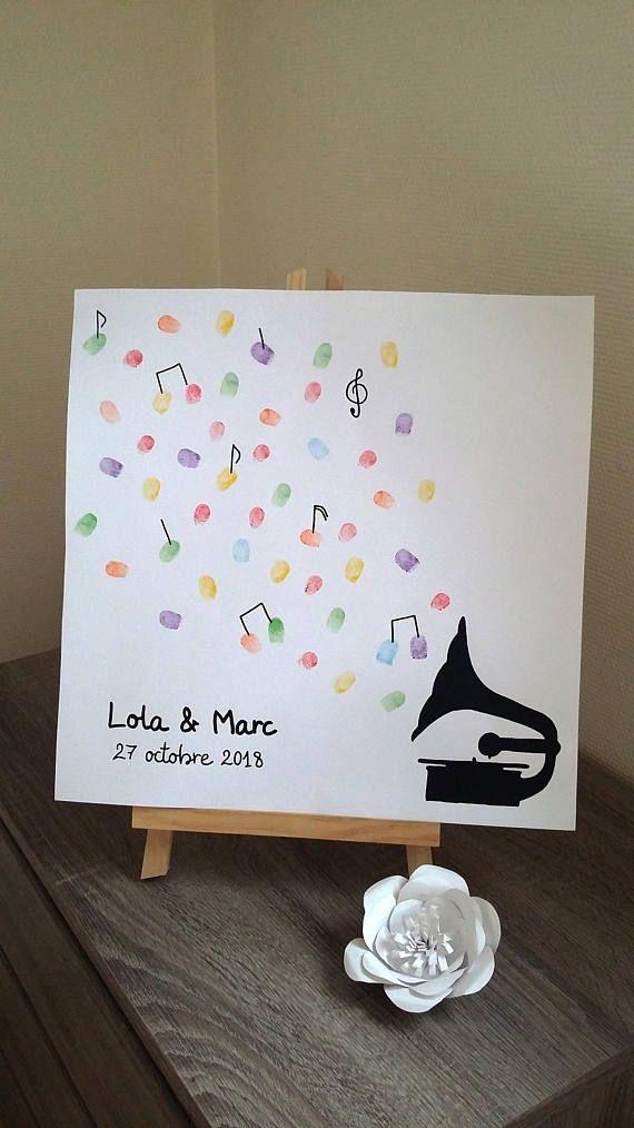 """Arbre à empreintes thème musique """" symphonie magique """" sur une toile 40 x 40 cm avec 1 encreur 6 couleurs offert"""