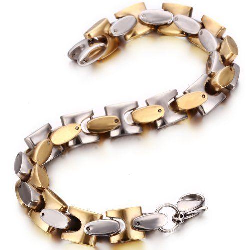 JewelryWe Joyas pulsera mujeres de los hombres pulsera de acero inoxidable de color Oro Plata #OroPlata