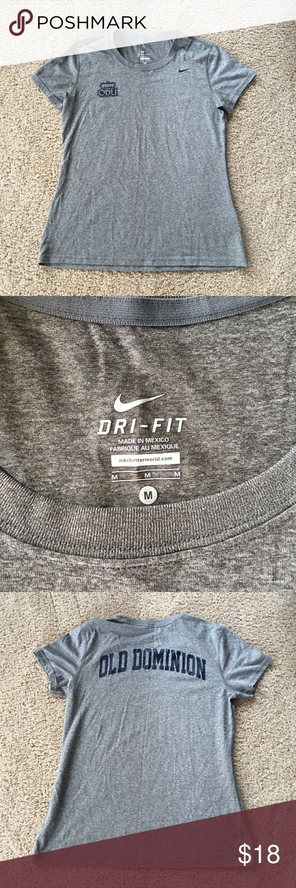 Nike Dri Fit ODU shirt sz: Med Brand new without tags Nike Old Dominion University gray Dry fit top sz: Med. no flaws, as it has never been worn 💖 Nike Tops Tees - Short Sleeve
