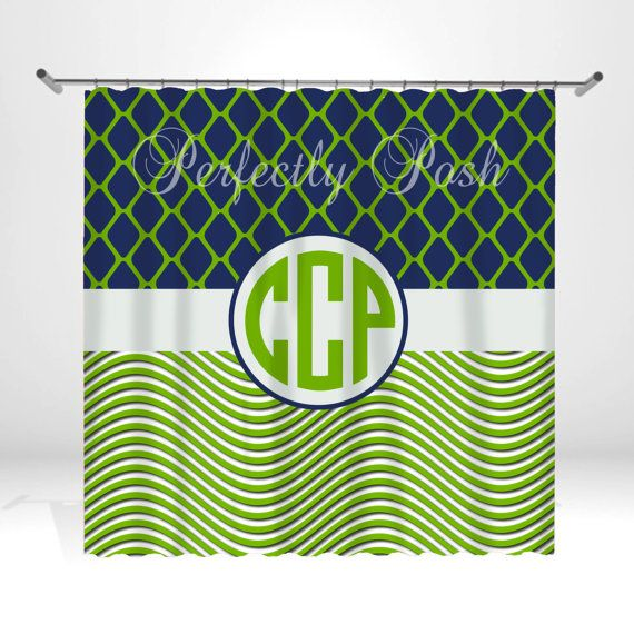 Personalized Green And Navy Shower Curtain By ItsPerfectlyPosh 6800