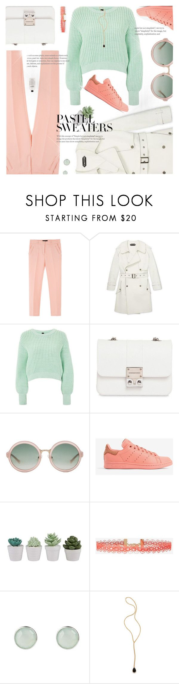 """""""Trench Coat Look"""" by jiabao-krohn on Polyvore featuring Topshop, Design Inverso, 3.1 Phillip Lim, adidas, Express, Jacquie Aiche, philosophy, pastel, trenchcoat and pastelsweaters"""