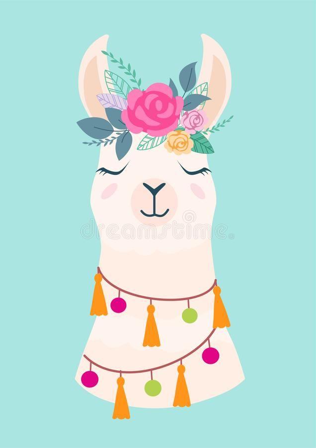 Vector Illustration Of Cute Cartoon Llama With Flowers Stylish