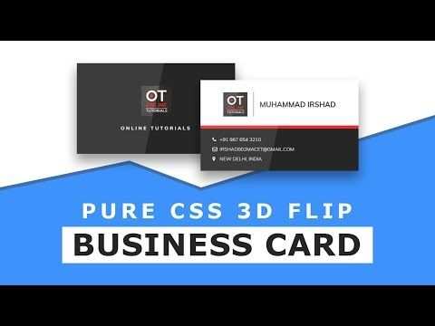 14) CSS Business Card UI Design with 3D Card Flip Hover