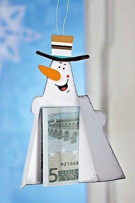 Gelgeschenke Weihnachten basteln Schneemann