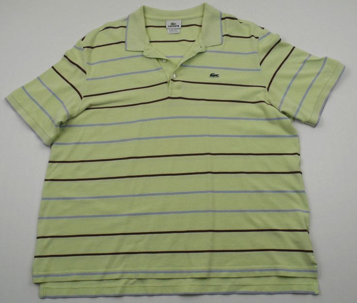 Lacoste Green Polo Shirt Mens 7 XL Stripes Short Sleeve Cotton #Lacoste #PoloRugby