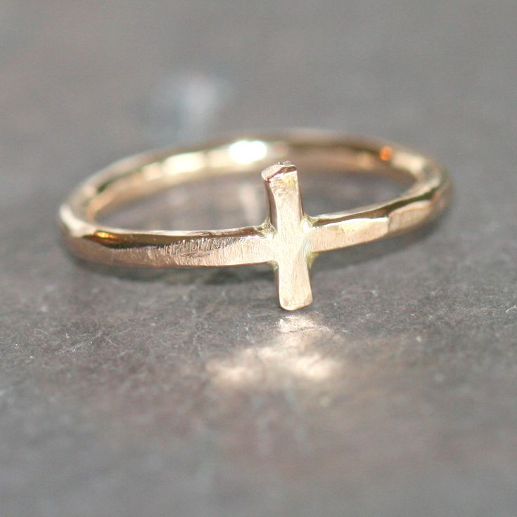 Small Gold Cross Pinky Ring