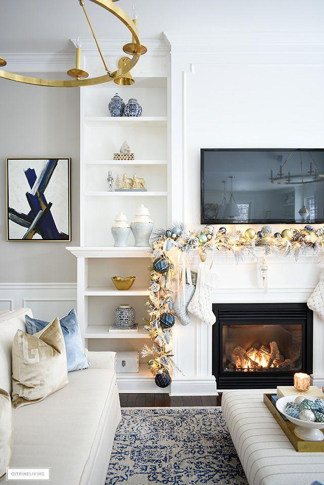 Elegant Christmas Living Room Soft Blue Gold Citrineliving Living Room Mantel Christmas Living Rooms Chic Christmas Decor