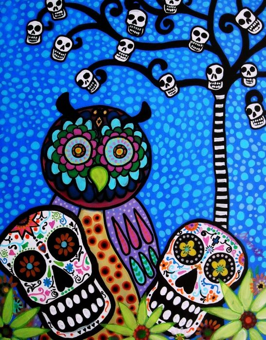 The 44 best painting inspo images on pinterest mexican folk art owl and sugar day of the dead greeting card for sale by pristine cartera turkus m4hsunfo