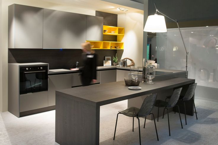 Another look at this stunning kitchen in Grigio Londra (0718) and a touch of yellow.