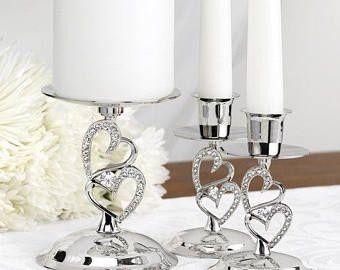 Bruiloft kaars Stand / fonkelende liefde kaars staan Set-eenheid kaars Stand / eenheid kaars-houders / kaars staat / zilver kaars staat