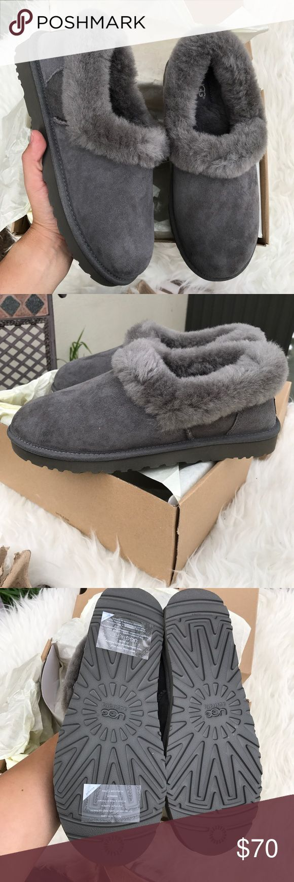 UGG authentic genuine shearling slippers grey sz 7 UGG authentic genuine shearling slippers grey sz 7 NEW 100% authentic! Improved style ; more durable, and new packaging .Foam-cushioned footbed Genuine shearling and leather upper/100% UGGpure wool lining/EVA sole Imported Women's Shoes itemcloset#docin UGG Shoes