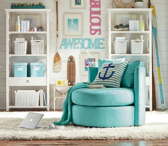 Aqua blue swivel chair from Pottery Barn Teen... for the young at heart. http://www.beachblissdesigns.com/2016/09/pottery-barn-teen-catalog-white-aqua.html