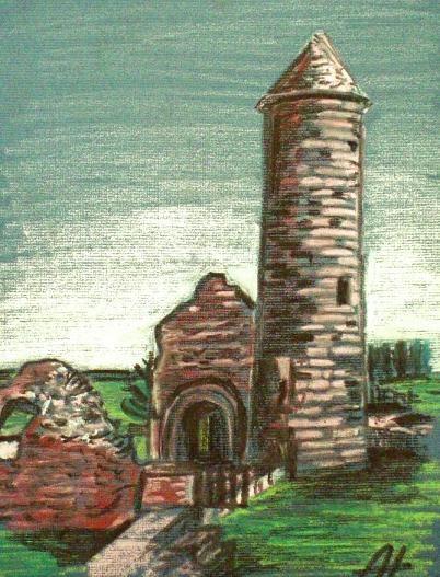The Irish Round Tower - oil pastels. #alanhogan #art #artist #roundtower #ireland #glendalough #vikingswerehere #wicklow #roundtower #discoverireland #irish #church #irishhistory #ruins #oilpastels #paintings #irishart #irishartists #monasteries #history #historic #past #arte #kunst #konst #konstnär #taide