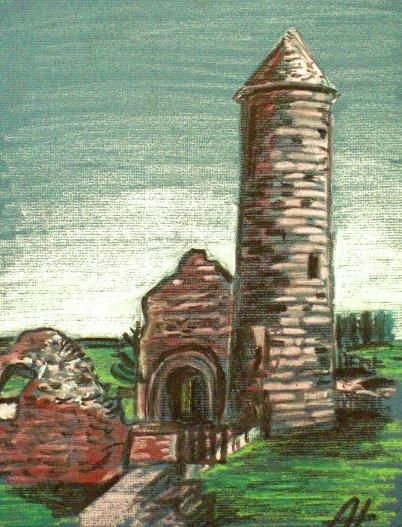 The Irish Round Tower - oil pastels. #alanhogan #art #artist #roundtower #ireland #glendalough #vikingswerehere #wicklow #roundtower #discoverireland #irish #church #irishhistory #ruins #oilpastels #paintings #irishart #irishartists #monasteries #history #historic #past #arte #kunst #konst #konstnär #taide