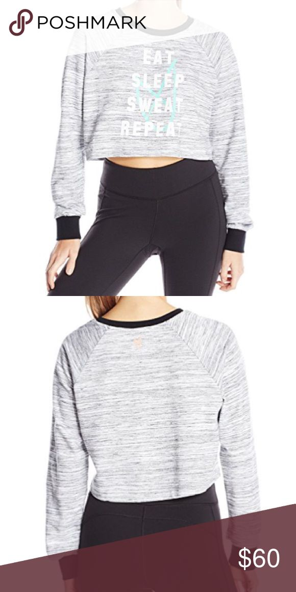 """minkpink // cropped slouchy sweatshirt NWT MINKPINK gray cropped slouchy crew neck sweatshirt with """"eat sleep sweat repeat"""" printed across front. Long sleeves, black contrast detail at neck and cuffs. Oversized fit. MINKPINK Tops"""