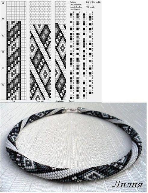 Bead crochet rope pattern - 12 around, diamonds, 4 colors