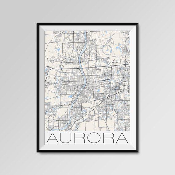 Aurora map, Illinois, Aurora print, Aurora poster, Aurora map art, Aurora city maps, Aurora Minimal Wall Art, Aurora Office Home Décor, black and white custom maps, personalized maps