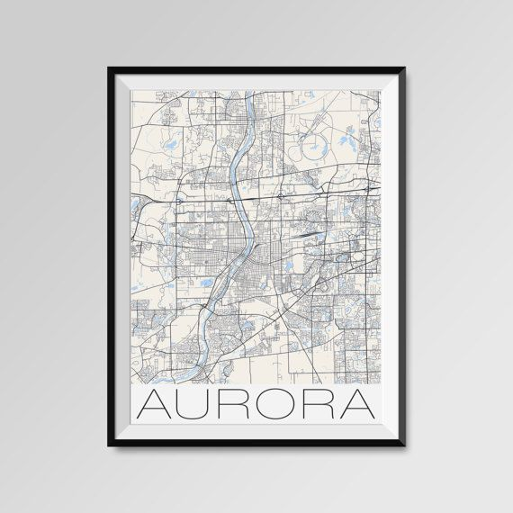 Aurora map, Illinois, Aurora print, Aurora poster, Aurora map art, Aurora city maps, Aurora Minimal Wall Art, Aurora Office Home Décor, black and white custom maps, personalized maps
