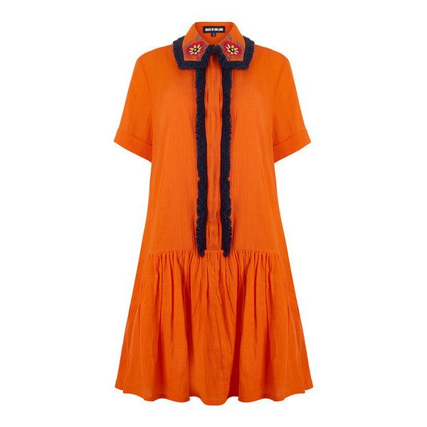 Embroidered Shirt Dress – House of Holland (9.098.085 VND) ❤ liked on Polyvore featuring dresses, house of holland dress, fringe dress, embroidery dresses, button front dress and orange dress