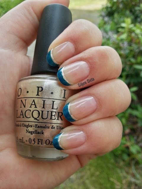 Blue french tips with OPI - Yodel me on your cell and OPI - Up front and persona
