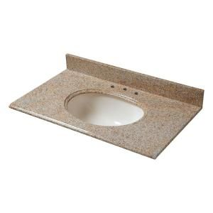 Pegasus 31 in. W Granite Vanity Top in Beige with Biscuit Bowl and 8 in. Faucet Spread-68231 - The Home Depot