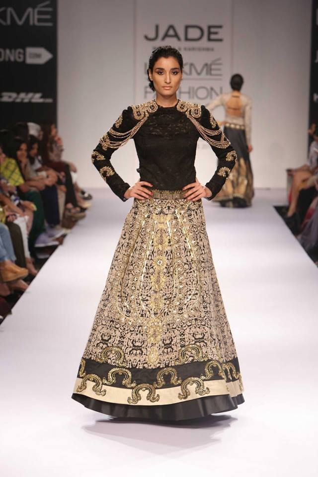Black and gold lehnga with shoulder detail by Jade and Monica Karishma at Lakme Fashion Week Winter 2014