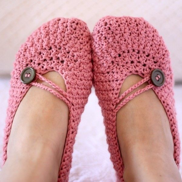 Crochet PATTERN (pdf file) - Pretty in Pink Ladies Slippers. $3.99, via Etsy.