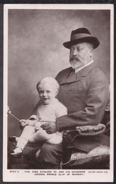 King Edward VII with his grandson Prince Alexander of Denmark, the son of his daughter Princess Maud. Maud's husband, Prince Carl of Denmark, became king of Norway in 1905 and adopted the name Haakon VII. Little Alexander then became Crown Prince Olav.