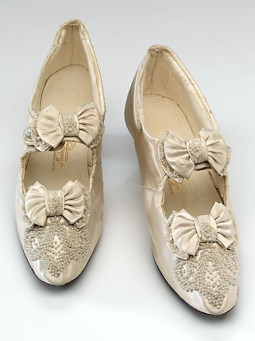 Silk, leather, paste and pearl shoes by Moubray, Rowan & Hicks. Melbourne, Australia, c. 1892. At the National Gallery of Victoria, Melbourne.