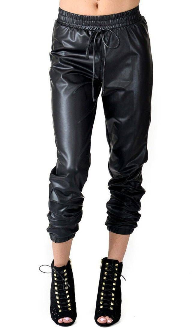06411dfd3b5c Faux Leather Jogger Pants with Drawstring (Plus Sizes Available S ...