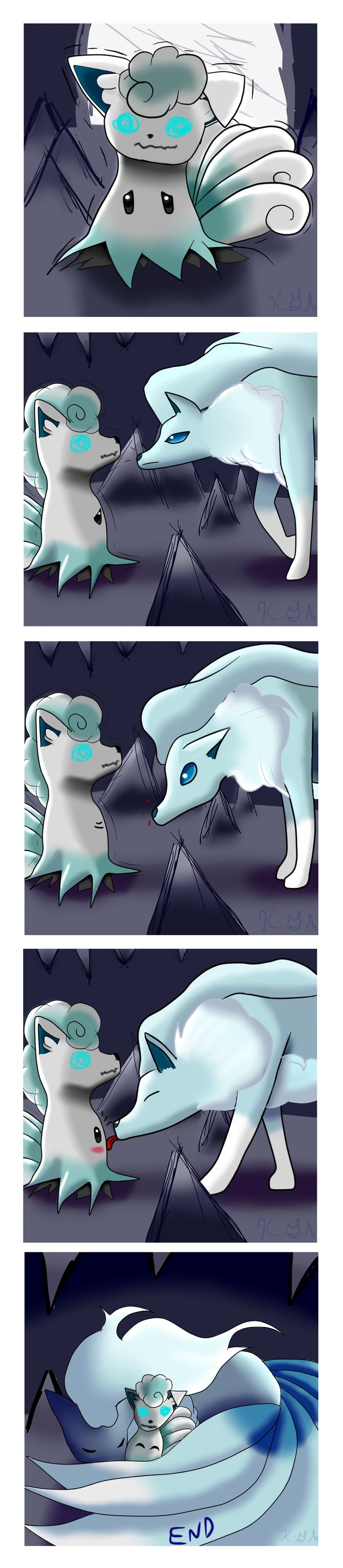 """""""Finally Accepted"""" By: Kalina Acosta  Vulpix has always been my favorite pokemon and I love the new Alolan design for it!!! I really really like Mimikyu too and wanted to try drawing it myself. Except I wanted to draw it dressed as an Alolan Vulpix.  I hope you guys like it!!!"""