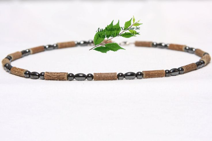 Hematite and hazelwood necklace