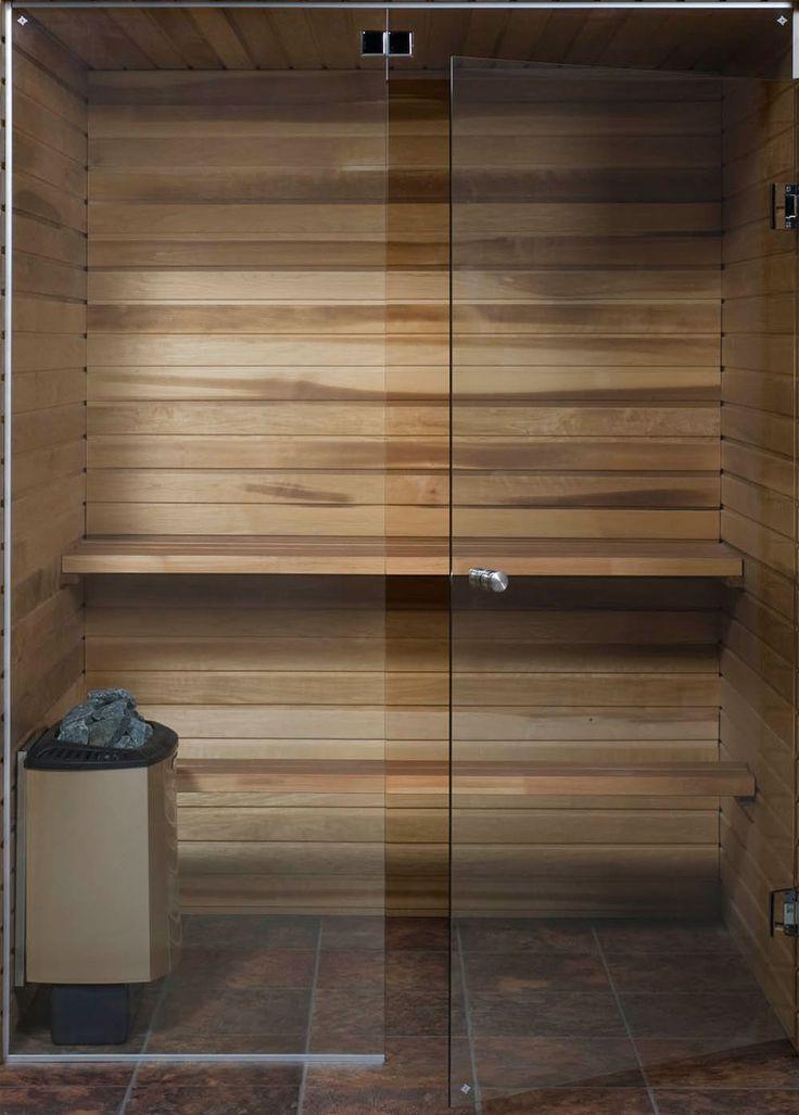 Saunan lasiseinä GlassHouse ovi + korkea ikkuna saranat sivussa - Taloon.com