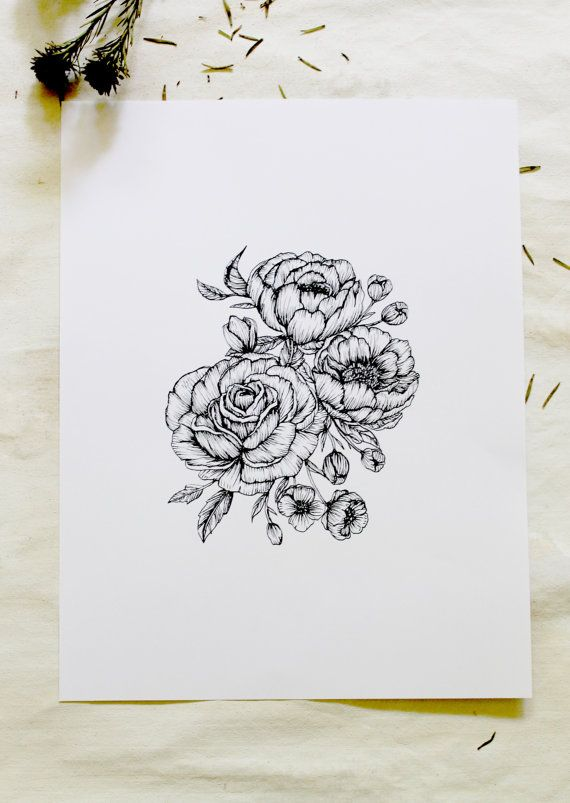 "Peonies + Roses Botanical 5"" x 7"" Floral Hand Drawn Pen and Ink Illustration"