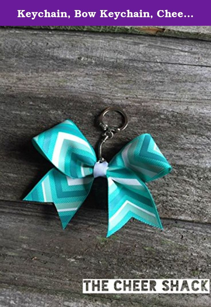 """Keychain, Bow Keychain, Cheer Bow Keychain, Chevron Bow Keychain. Chevron cheer bow keychain. 1.5"""" grosgrain ribbon. Embellished with The Cheer Shack's signature rhinestone. Great for decorating backpacks, bags, etc. Print design and color on each bow may vary."""