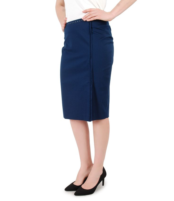 GALA, office skirt with Swarovski crystals Spring17 | YOKKO #skirt #blue #cotton #swarovski #spring17 #beauty #fashion #women #yokko