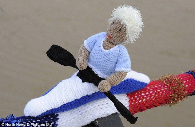 Olympic knitted scarf on Saltburn pier in Yorkshire. Wonderful!