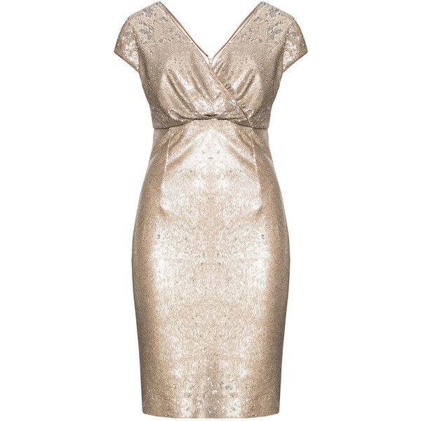 Ariella Gold / Silver Plus Size Wrap front cocktail dress (£120) ❤ liked on Polyvore featuring dresses, gold, plus size, pink dress, gold glitter dress, knee length cocktail dresses, silver cocktail dress and plus size cocktail dresses