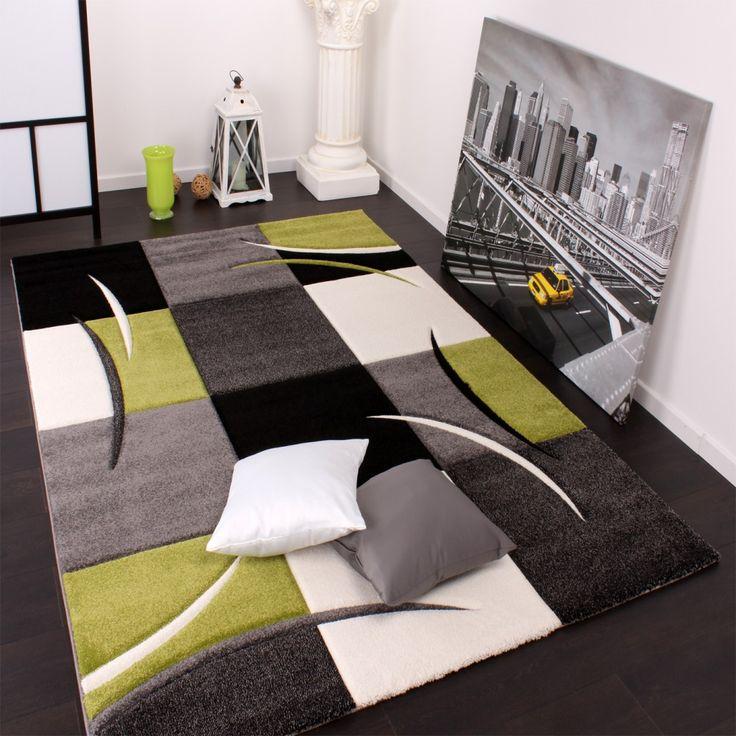 Designer Teppich Mit Konturenschnitt Karo Muster Grn Schwarz Wohn Und Schlafbereich Teppiche